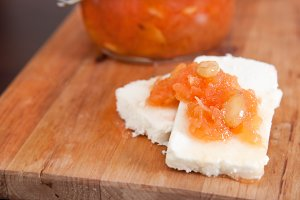 Sweet quince jam with almonds