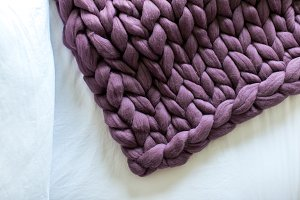 Purple Chunky Knit Blanket