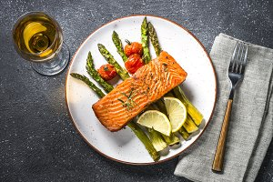 Baked salmon fish fillet with fresh