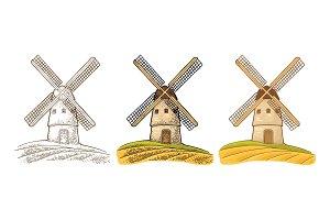Windmill on wheat field vintage