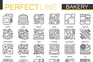 Bakery pastry concept icons