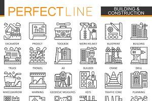 Building construction concept icons