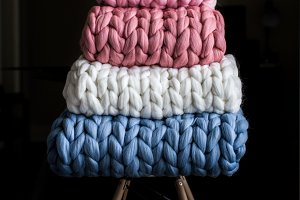 Chunky Knit Blankets on a Chair