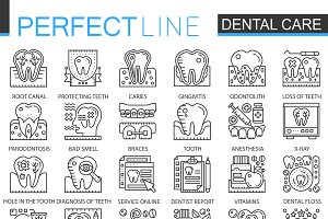 Dental care concept icons