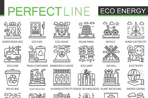 Eco green energy concept icons