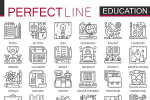 Modern education concept icons
