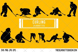 Curling silhouette, Curling clipart