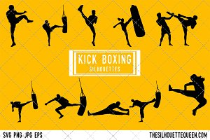 Kickboxing silhouette vector