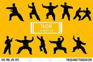 TaiChi silhouette, TaiChi clipart