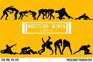 Woman Wrestling silhouette