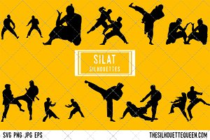 Silat silhouette, Silat clipart