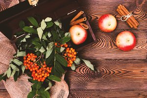 Autumn background with apples, cinna