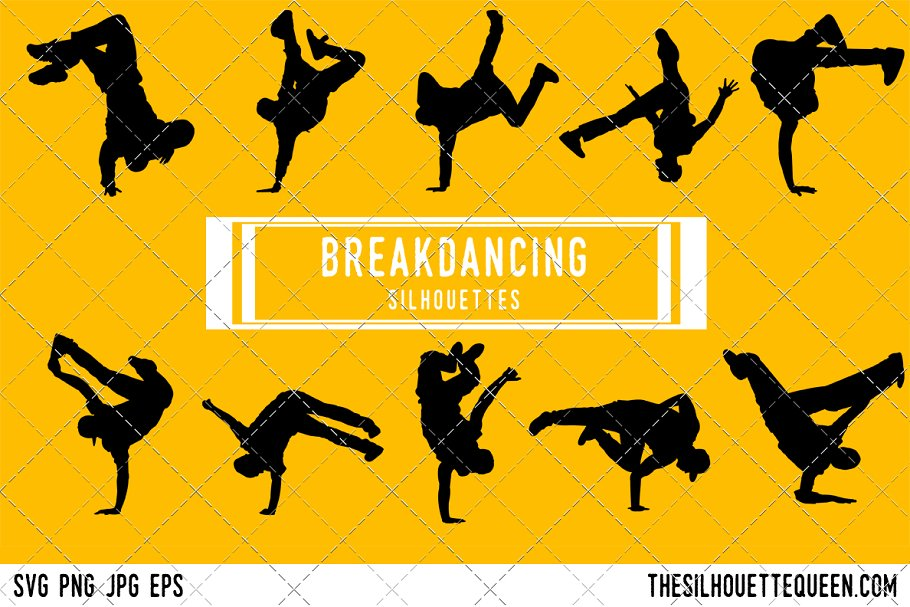 Break Dancer Silhouette Pre Designed Illustrator Graphics Creative Market
