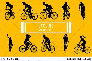 Cycling silhouette, Cycling clipart