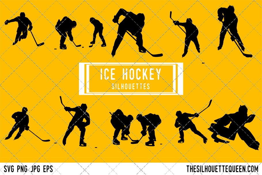 Ice Hockey Silhouette Hockey Player Graphic Objects Creative Market