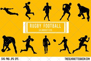 Rugby league football silhouette