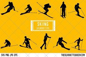 Skier Skiing silhouette