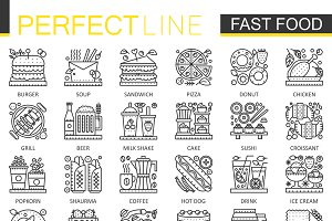 Fast food concept line icons