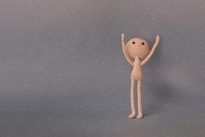 A man raises his hands up