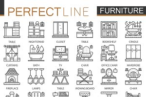 Furniture line concept icons