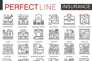 Insurance concept line icons