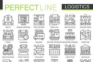 Logistics cargo concept line icons