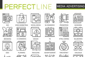 Media advertising concept line icons