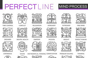 Mind brain process concept icons