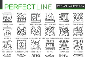 Recycling renewable energy icons