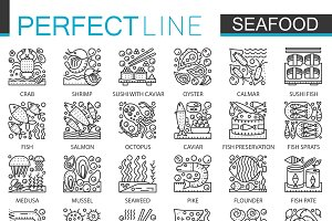 Seafood concept line icons