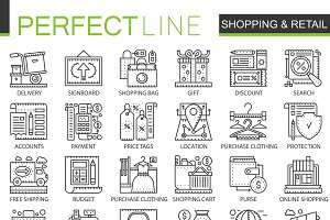 E-commerce shopping concept icons