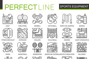 Sport equipment concept line icons