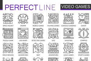 Video games concept line icons