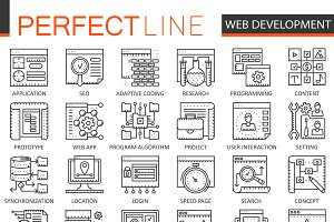 SEO & development concept line icons