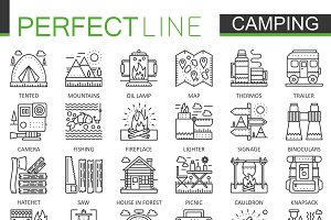 Summer camping concept line icons