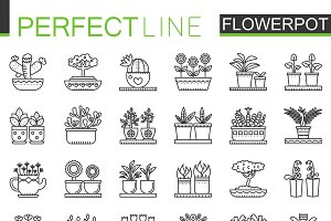 Flowers in pots concept icons