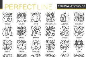 Fruits vegetables concept line icons