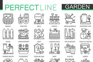 Gardening flower concept line icons