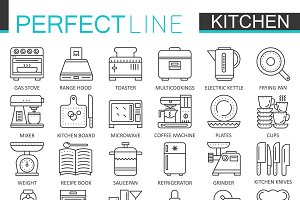Cooking, kitchen concept line icons