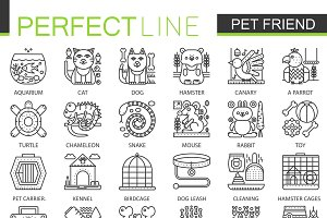Pet friend store concept line icons
