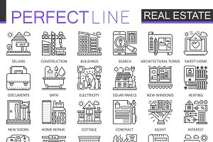 Real Estate concept line icons