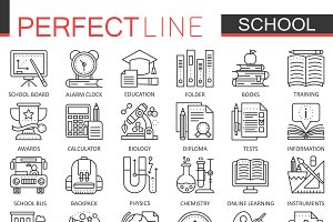 School education concept line icons