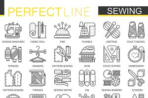 Sewing equipment concept line icons