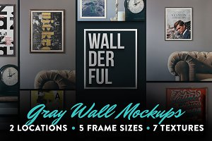 """Wallderful"" Gray Wall Mockups"