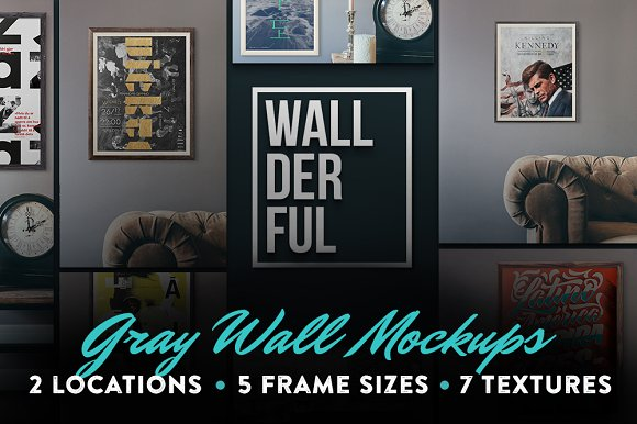 """Wallderful"" Gray Wall Mockups"