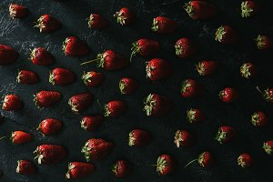 top view of ripe summer strawberries