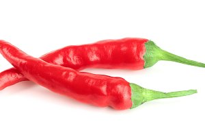 red hot chili peppers isolated on