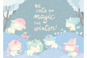 Funny unicorns in snow forest. Magic