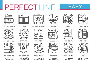 Baby care concept line icons