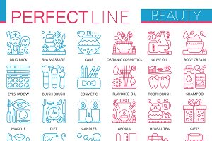 Beauty spa cosmetics concept icons